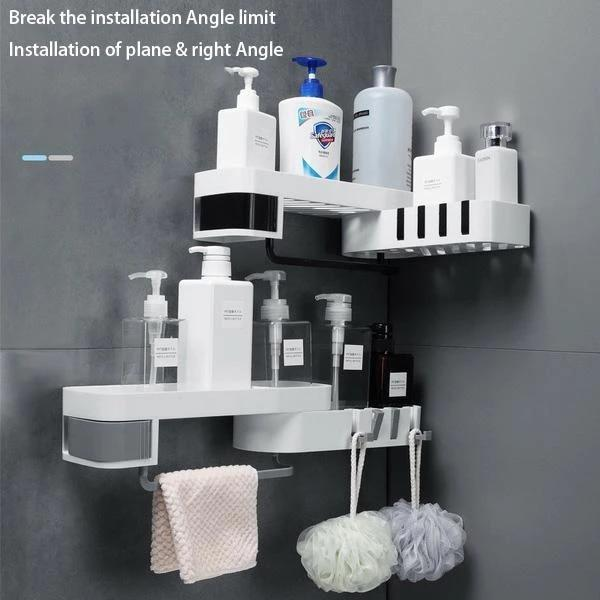 Shower Corner Shelf - Corner Shower Caddy - Nail-Free Shower Rack Space Saver - Storage Shelves & Racks