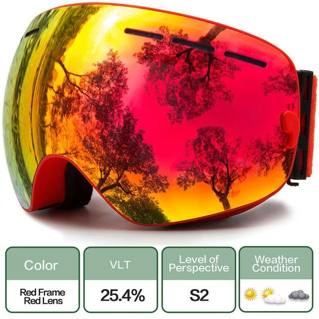 Ski Snowboard Goggles With Anti-Fog Uv Protection For Winter Snow Sports - C1 Red Red