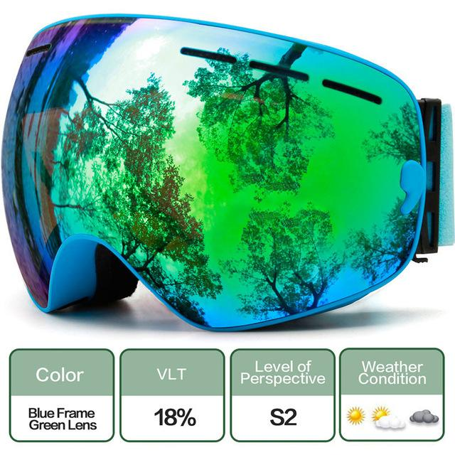 Ski Snowboard Goggles With Anti-Fog Uv Protection For Winter Snow Sports - C10 Blue Green