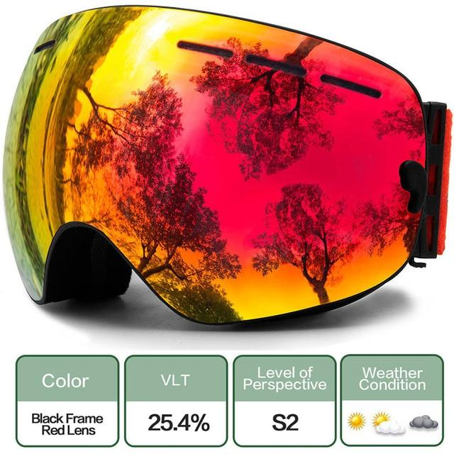 Ski Snowboard Goggles With Anti-Fog Uv Protection For Winter Snow Sports - C11 Black Red