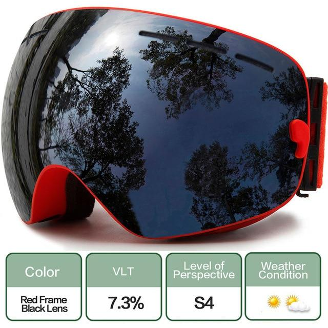 Ski Snowboard Goggles With Anti-Fog Uv Protection For Winter Snow Sports - C12 Red Black