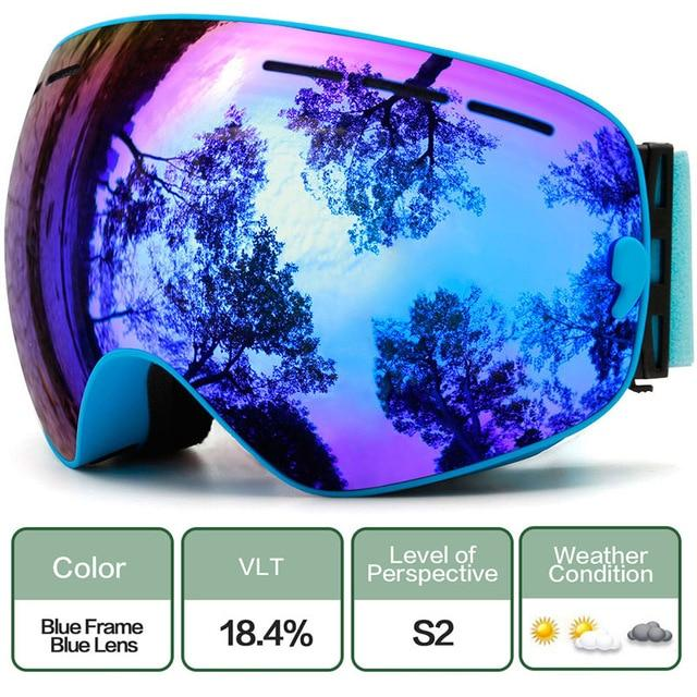 Ski Snowboard Goggles With Anti-Fog Uv Protection For Winter Snow Sports - C2 Blue Blue
