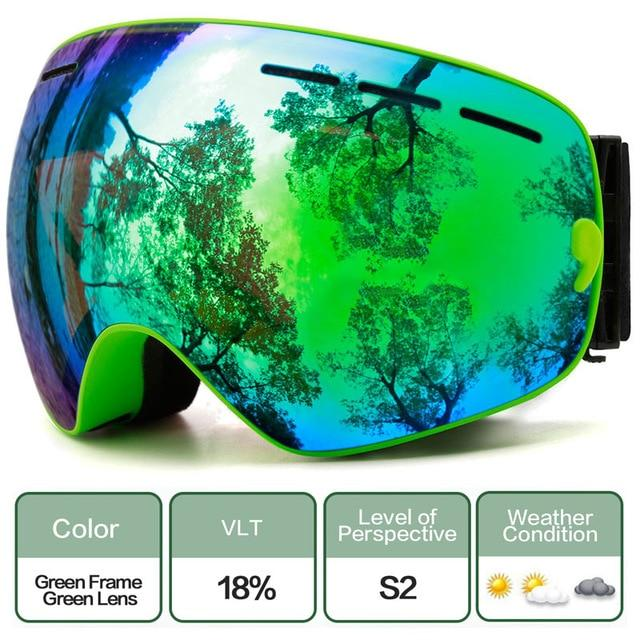 Ski Snowboard Goggles With Anti-Fog Uv Protection For Winter Snow Sports - C3 Green Green
