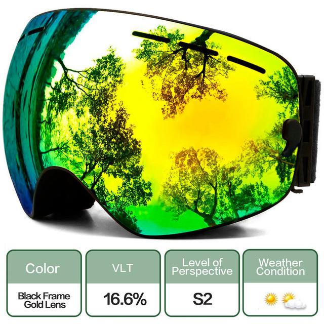 Ski Snowboard Goggles With Anti-Fog Uv Protection For Winter Snow Sports - C4 Black Gold