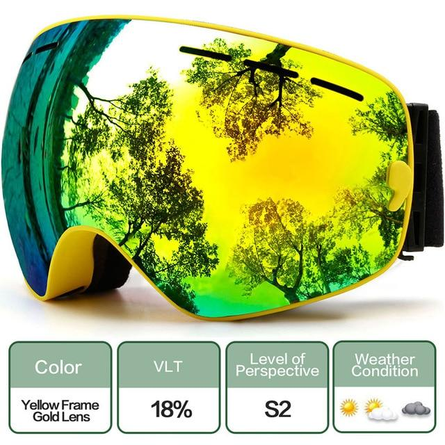 Ski Snowboard Goggles With Anti-Fog Uv Protection For Winter Snow Sports - C5 Yellow Gold