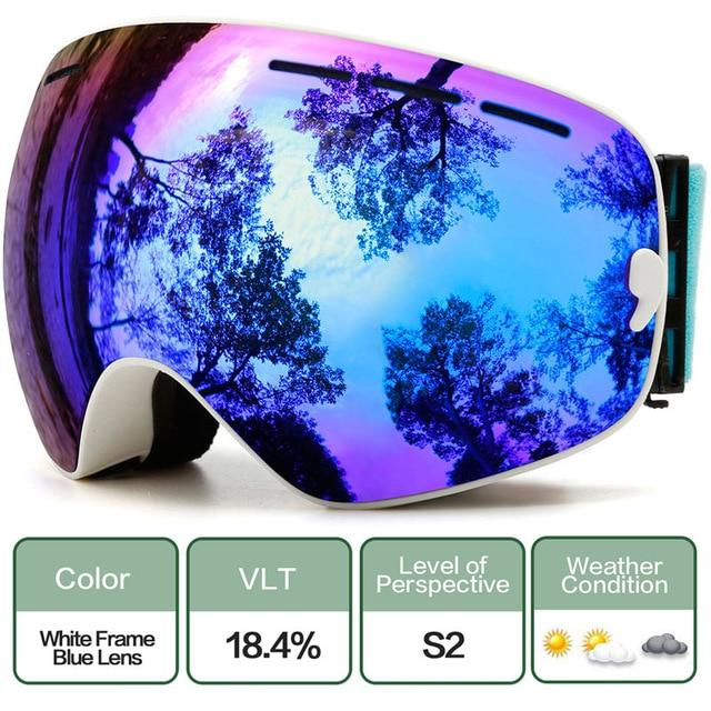 Ski Snowboard Goggles With Anti-Fog Uv Protection For Winter Snow Sports - C6 Whith Blue