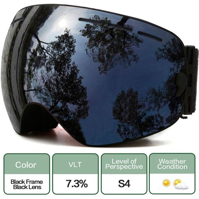 Ski Snowboard Goggles With Anti-Fog Uv Protection For Winter Snow Sports - C7 Black Black