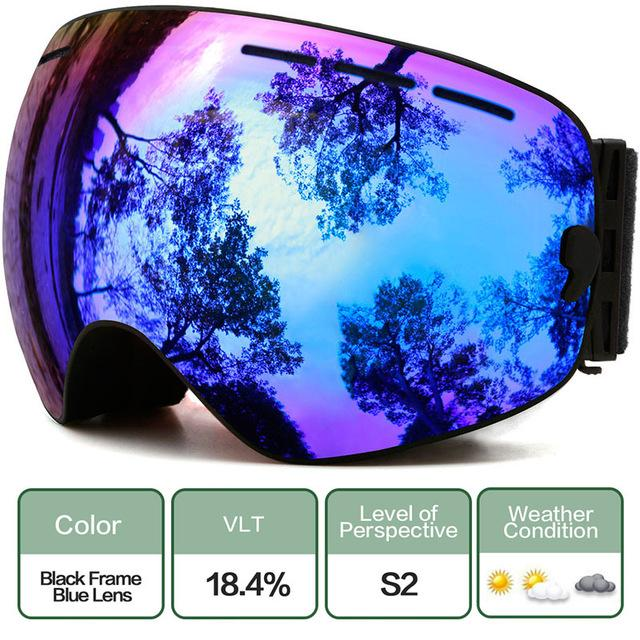 Ski Snowboard Goggles With Anti-Fog Uv Protection For Winter Snow Sports - C9 Black Blue