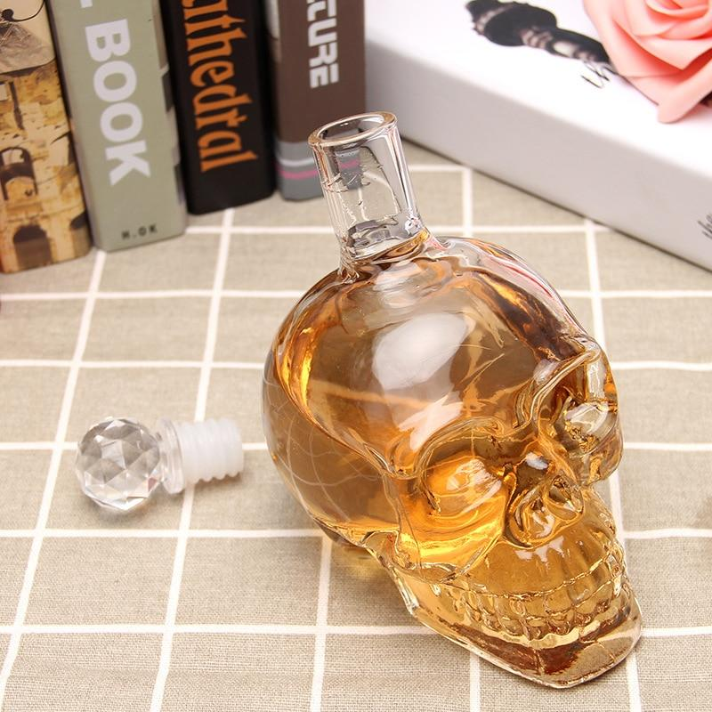 Skull Whiskey Decanter Crystal Glass Liquor Bottle For Vodka Scotch Wine