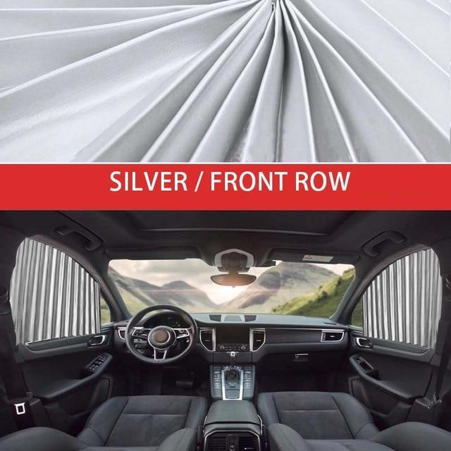 SlideNShade - Universal Magnetic Car Window Sunshade Sliding Curtain UV Protection - 2pc Front Silver - Side Window Sunshades