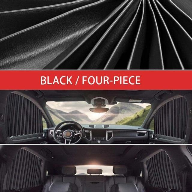 SlideNShade - Universal Magnetic Car Window Sunshade Sliding Curtain UV Protection - 4pc Rear & Front Black - Side Window Sunshades