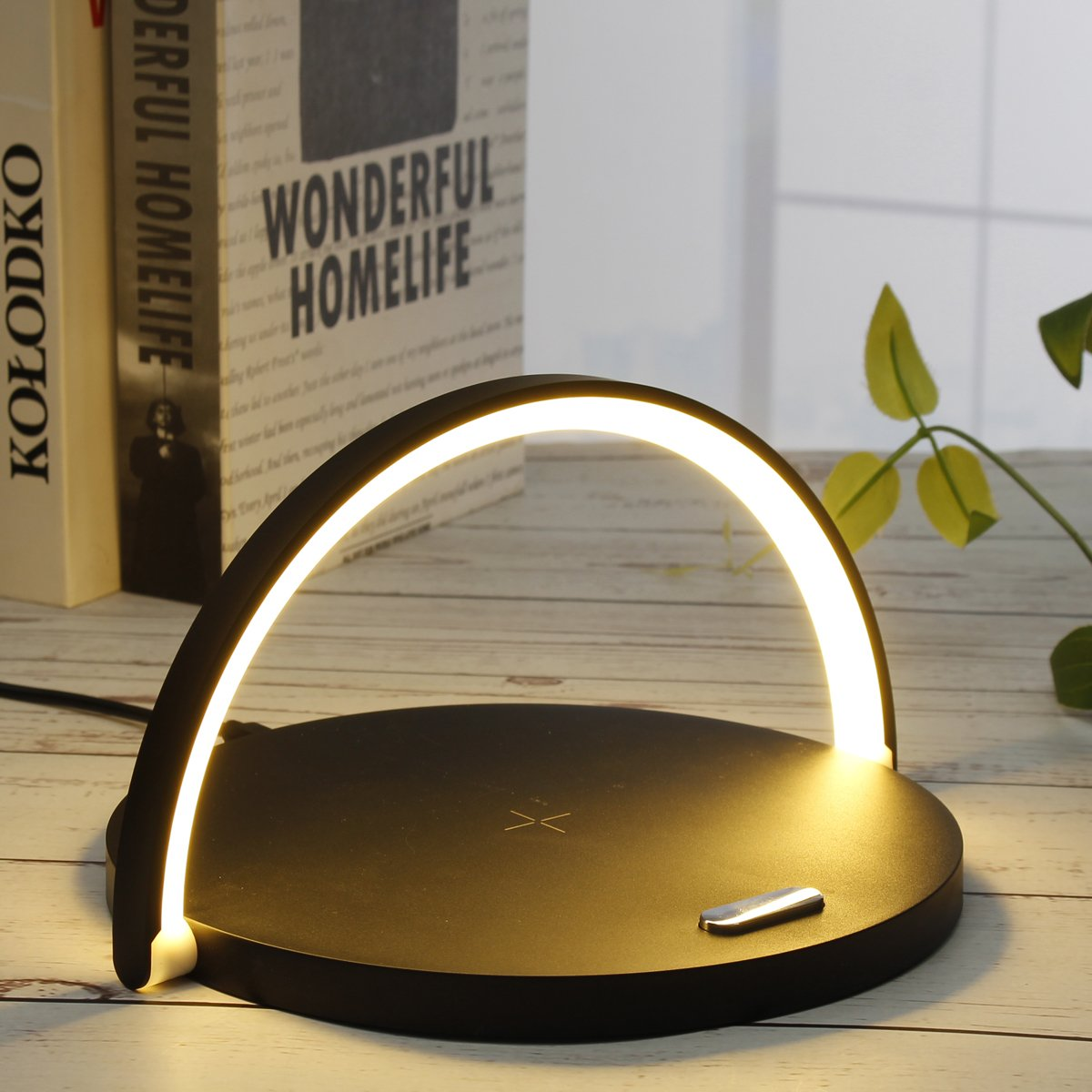 Smart LED Night Light Qi Wireless Charge Lamp For iPhone Samsung - Black - Mobile Phone Chargers