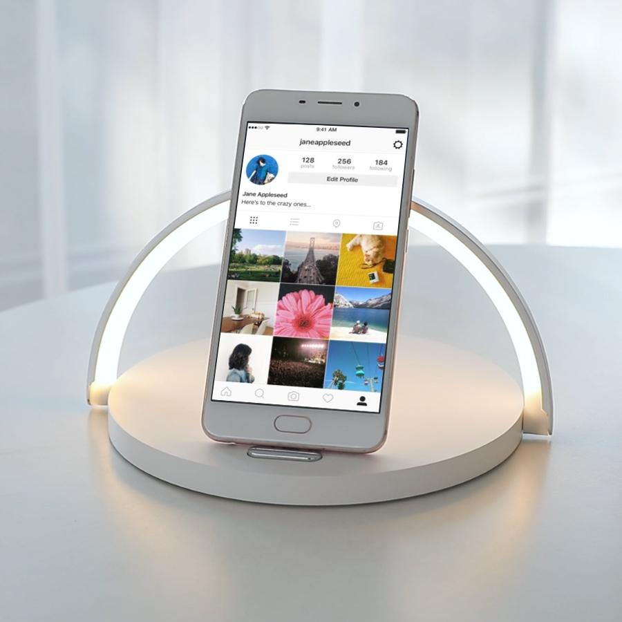 Smart LED Night Light Qi Wireless Charge Lamp For iPhone Samsung - White - Mobile Phone Chargers