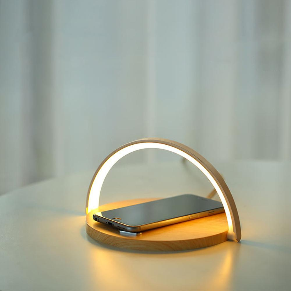 Smart LED Night Light Qi Wireless Charge Lamp For iPhone Samsung - Wood - Mobile Phone Chargers
