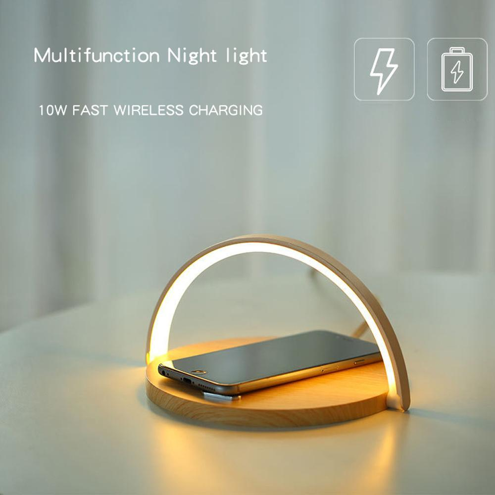 Smart LED Night Light Qi Wireless Charge Lamp For iPhone Samsung - Mobile Phone Chargers