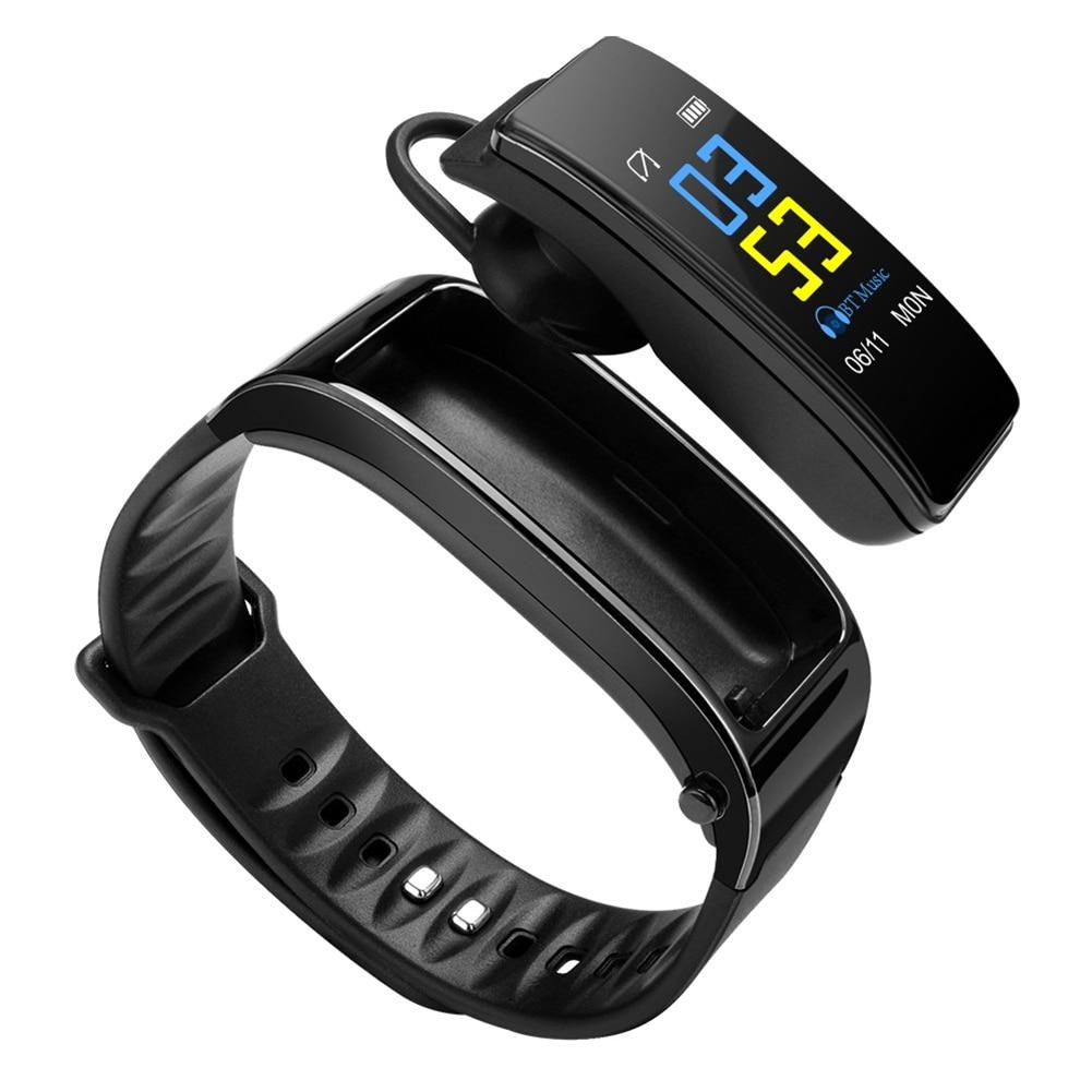 Smartwatch With Bluetooth Headset - Heart Rate Monitor Fitness Tracker Wristband - Black - Smart Wristbands