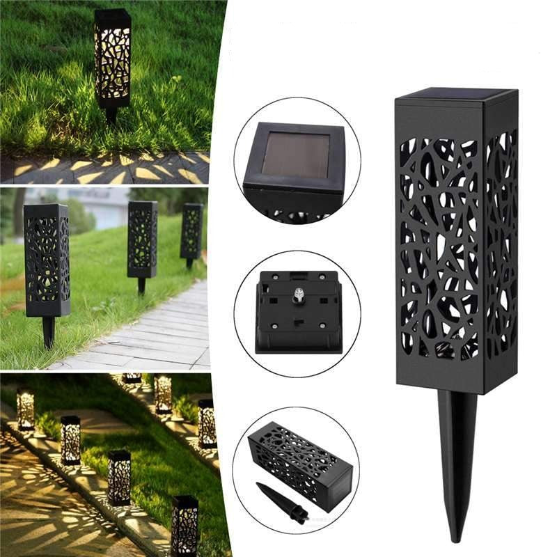 Solar Powered Hollow Vintage Garden Decoration Lamp - Light Sensor Lawn Yard Pathway Lamp - LED Lawn Lamps