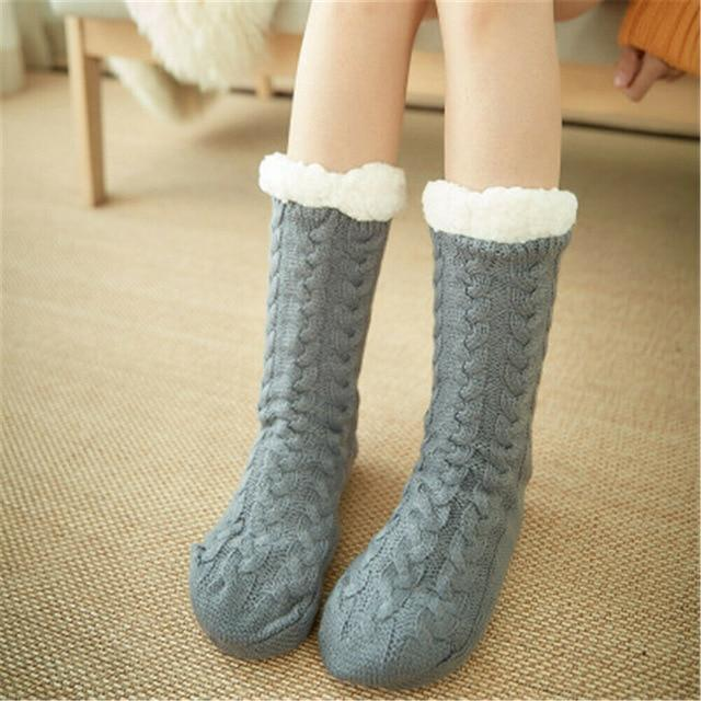 Super Soft Ultra-Plush Wool Non-Slip Thick Warm Slipper Socks - Gray - Socks