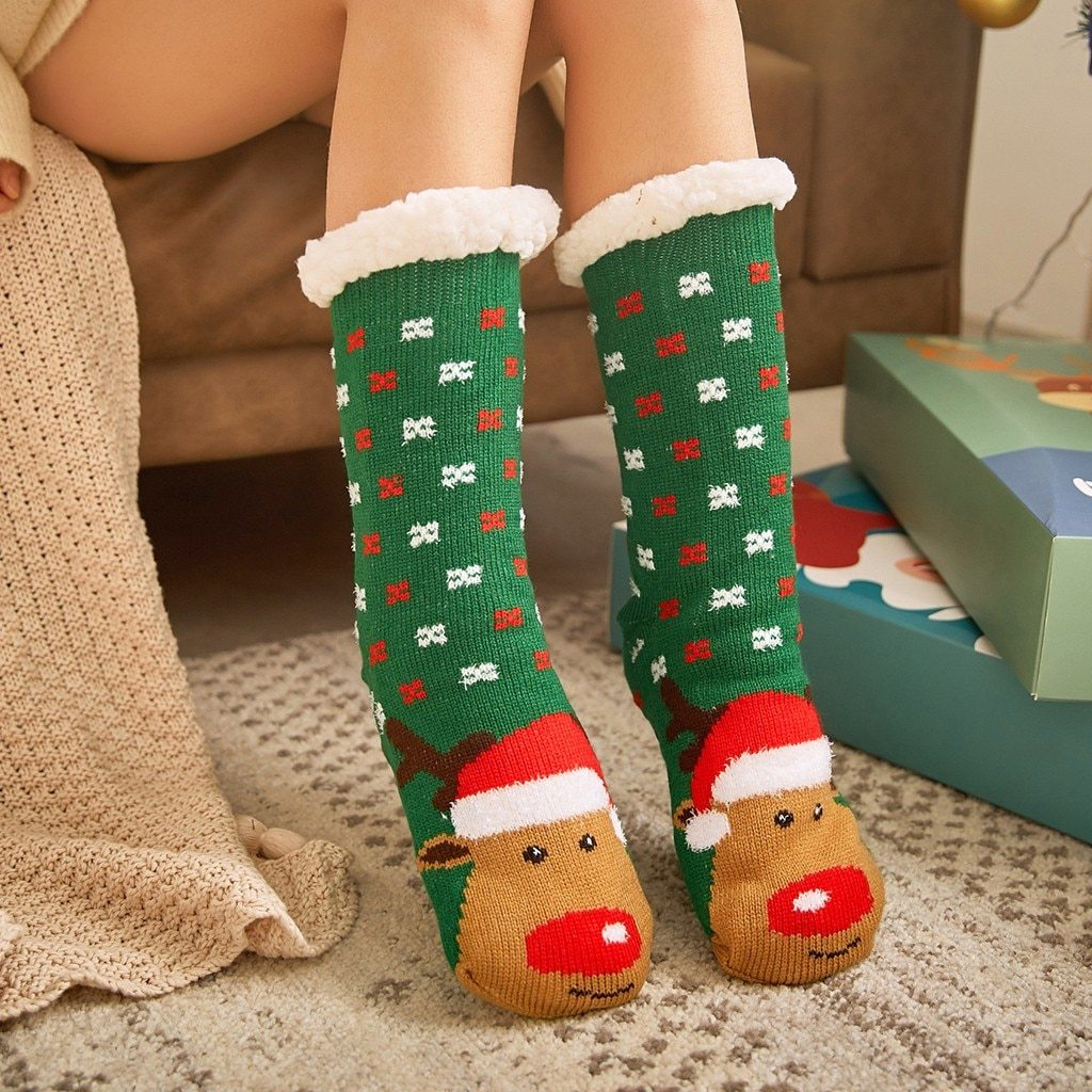 Super Soft Ultra-Plush Wool Non-Slip Thick Warm Slipper Socks - Green Reindeer - Socks