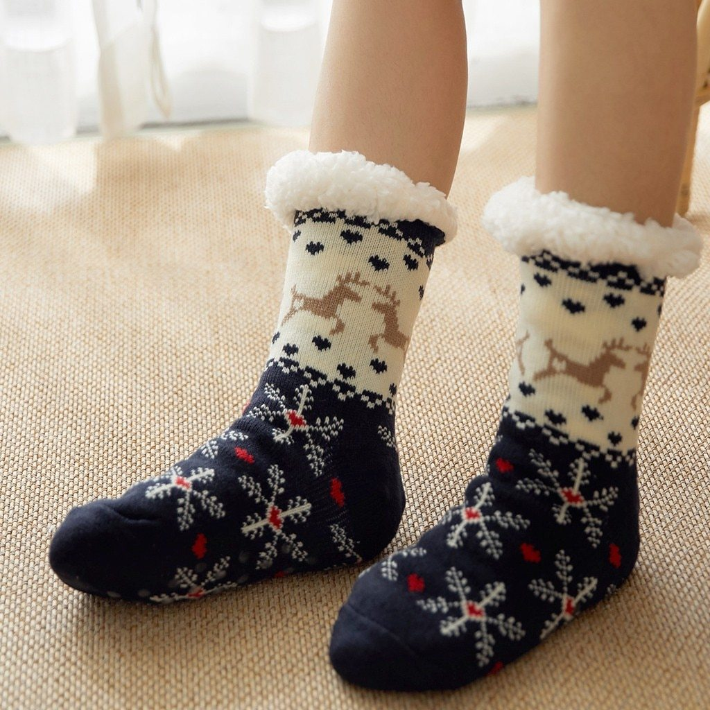 Super Soft Ultra-Plush Wool Non-Slip Thick Warm Slipper Socks - Navy Deer Snowflake - Socks