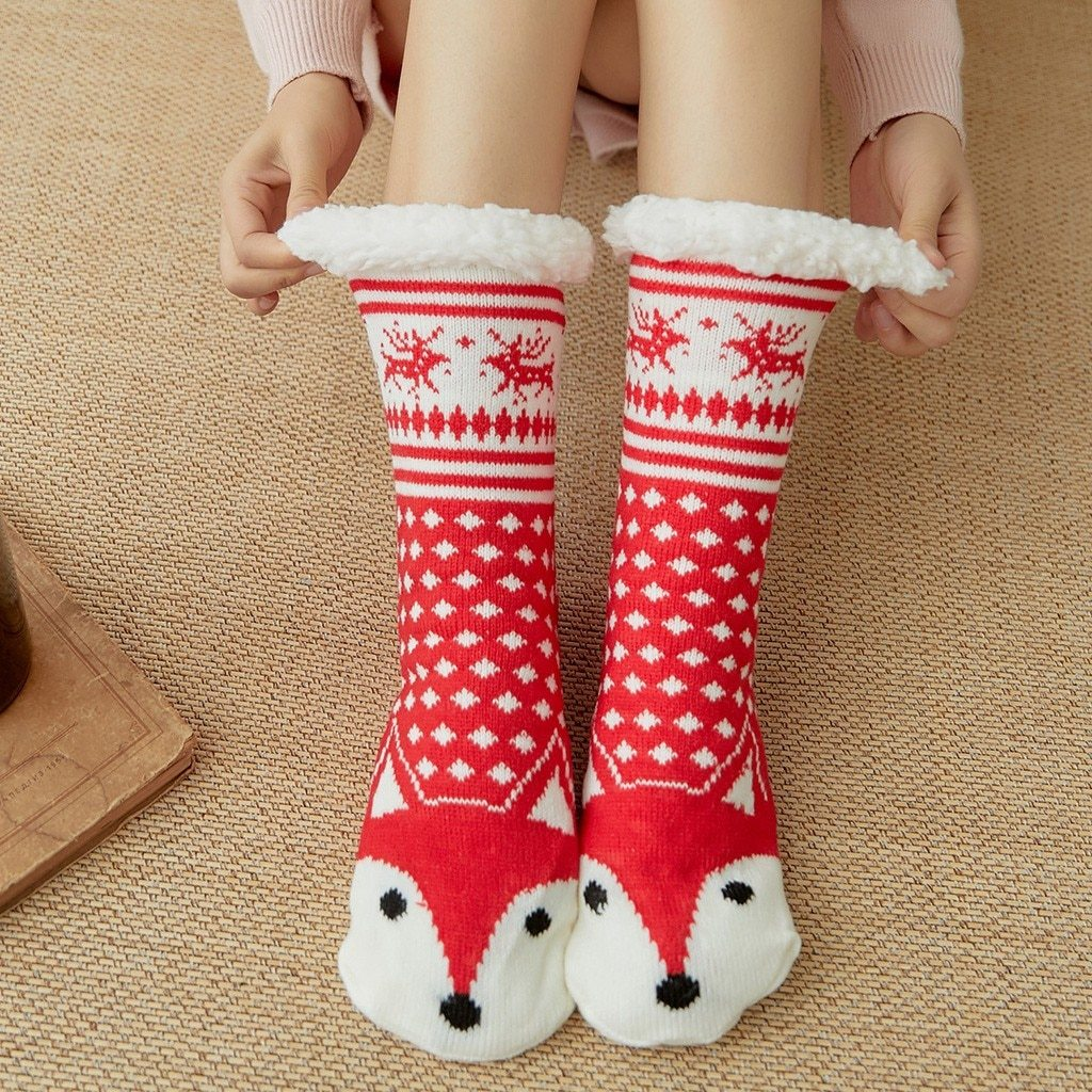 Super Soft Ultra-Plush Wool Non-Slip Thick Warm Slipper Socks - Red Fox - Socks