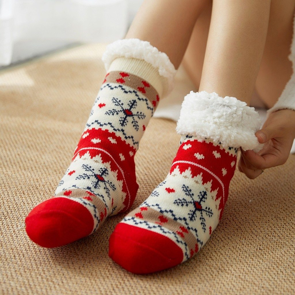 Super Soft Ultra-Plush Wool Non-Slip Thick Warm Slipper Socks - Snowflake - Socks