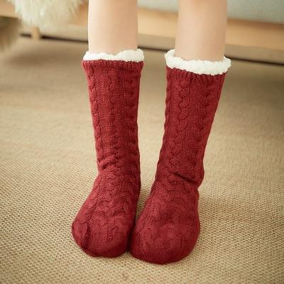 Super Soft Ultra-Plush Wool Non-Slip Thick Warm Slipper Socks - Wine Red - Socks