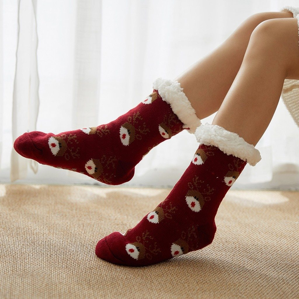 Super Soft Ultra-Plush Wool Non-Slip Thick Warm Slipper Socks - Socks