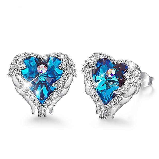 Swarovski Angel Wing Heart Crystal Earrings - Blue - Earrings