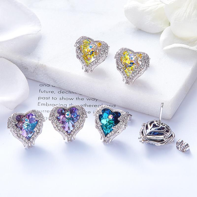 Swarovski Angel Wing Heart Crystal Earrings - Earrings