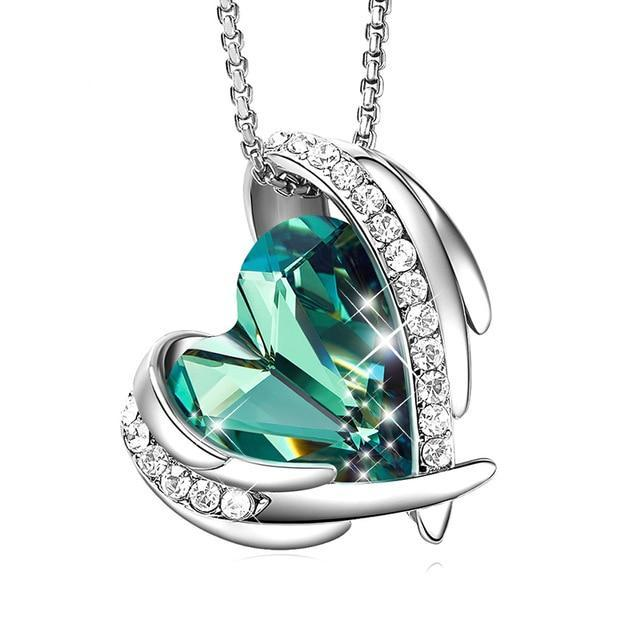 Swarovski Crystal Arch Heart Angel Pendant Necklace For Women - Green Silver - Necklaces