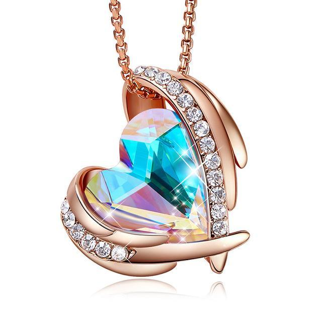 Swarovski Crystal Arch Heart Angel Pendant Necklace For Women - Multi Rose Gold - Necklaces