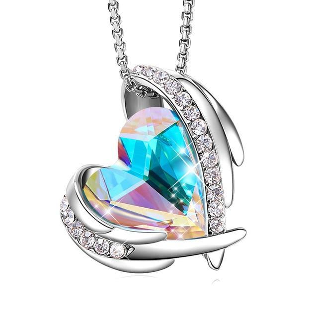 Swarovski Crystal Arch Heart Angel Pendant Necklace For Women - Multi Silver - Necklaces