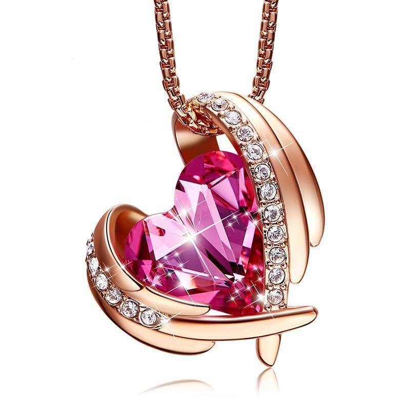 Swarovski Crystal Arch Heart Angel Pendant Necklace For Women - Pink Rose Gold - Necklaces