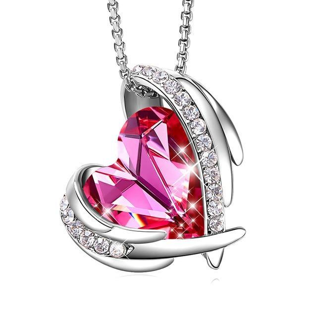 Swarovski Crystal Arch Heart Angel Pendant Necklace For Women - Pink SIlver - Necklaces