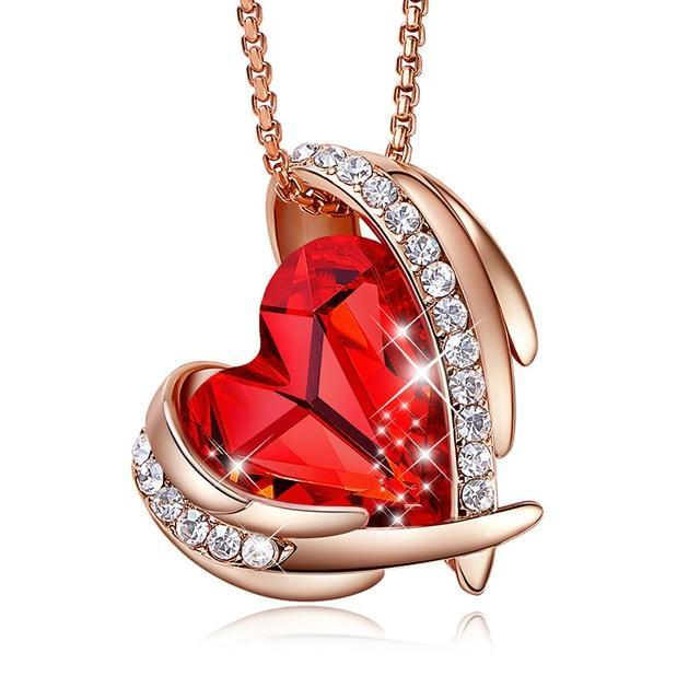 Swarovski Crystal Arch Heart Angel Pendant Necklace For Women - Red Rose Gold - Necklaces