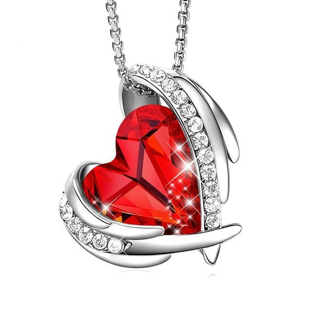 Swarovski Crystal Arch Heart Angel Pendant Necklace For Women - Red Silver - Necklaces