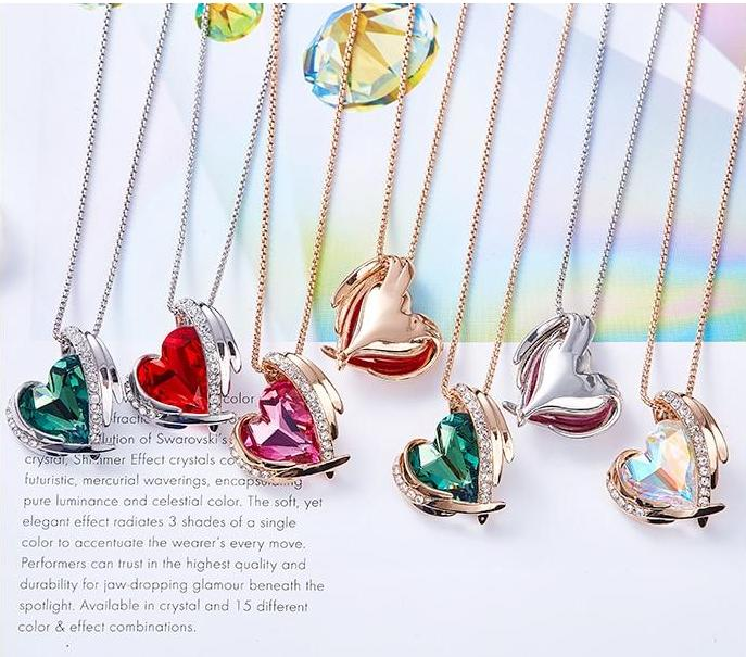 Swarovski Crystal Arch Heart Angel Pendant Necklace For Women - Necklaces