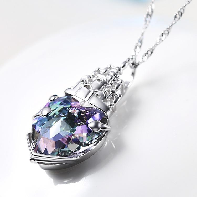 Swarovski Crystal Heart Castle Sterling Silver Pendant Necklace - Necklaces
