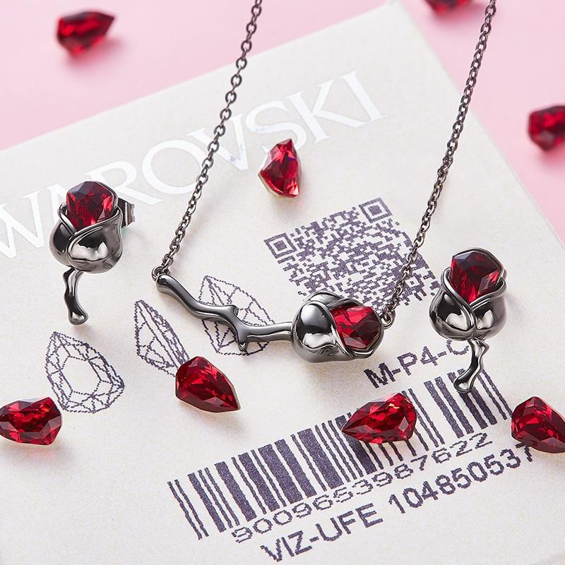 Swarovski Crystals Dark Rose Pendant Necklace Earrings Set