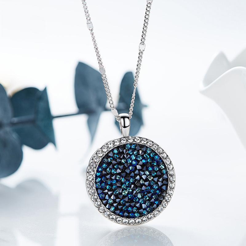 Swarovski Crystals Elegant Blue Round Pendant Necklace - Pendant Necklaces