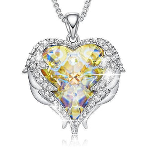 Swarovski Crystals Heart Of Angel Pendant Necklace For Women Fashion Jewelry - Aurore Boreale - Pendant Necklaces