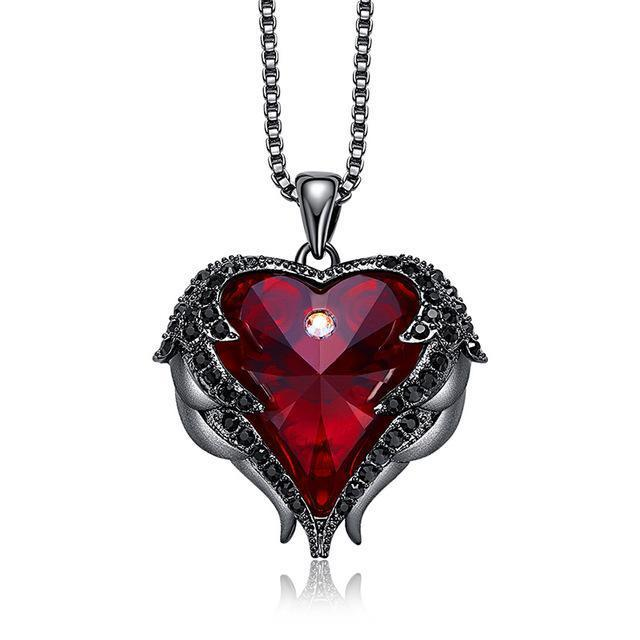 Swarovski Crystals Heart Of Angel Pendant Necklace For Women Fashion Jewelry - Black Red - Pendant Necklaces