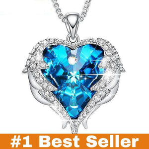 Swarovski Crystals Heart Of Angel Pendant Necklace For Women Fashion Jewelry - Blue - Pendant Necklaces