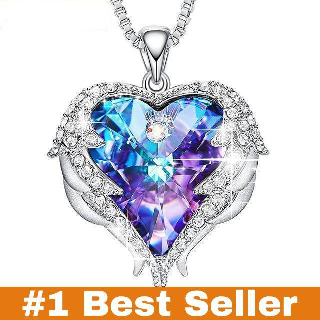 Swarovski Crystals Heart Of Angel Pendant Necklace For Women Fashion Jewelry - Purple Blue - Pendant Necklaces
