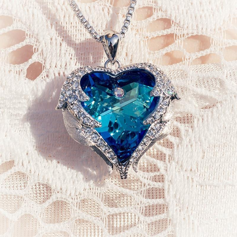 Swarovski Crystals Heart Of Angel Pendant Necklace For Women Fashion Jewelry - Pendant Necklaces