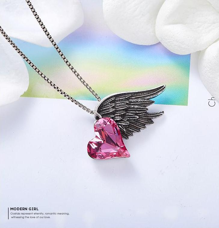 Swarovski Crystals Heart With Dark Angel Wing Pendant Necklace