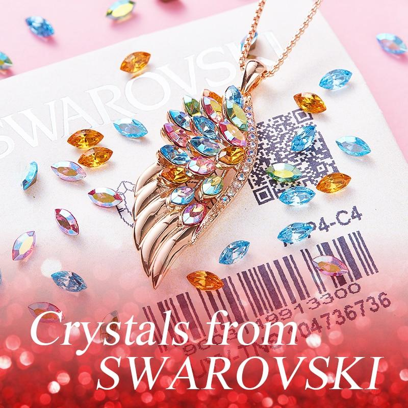 Swarovski Crystals Peacock Birthstone Feather Pendant Necklace