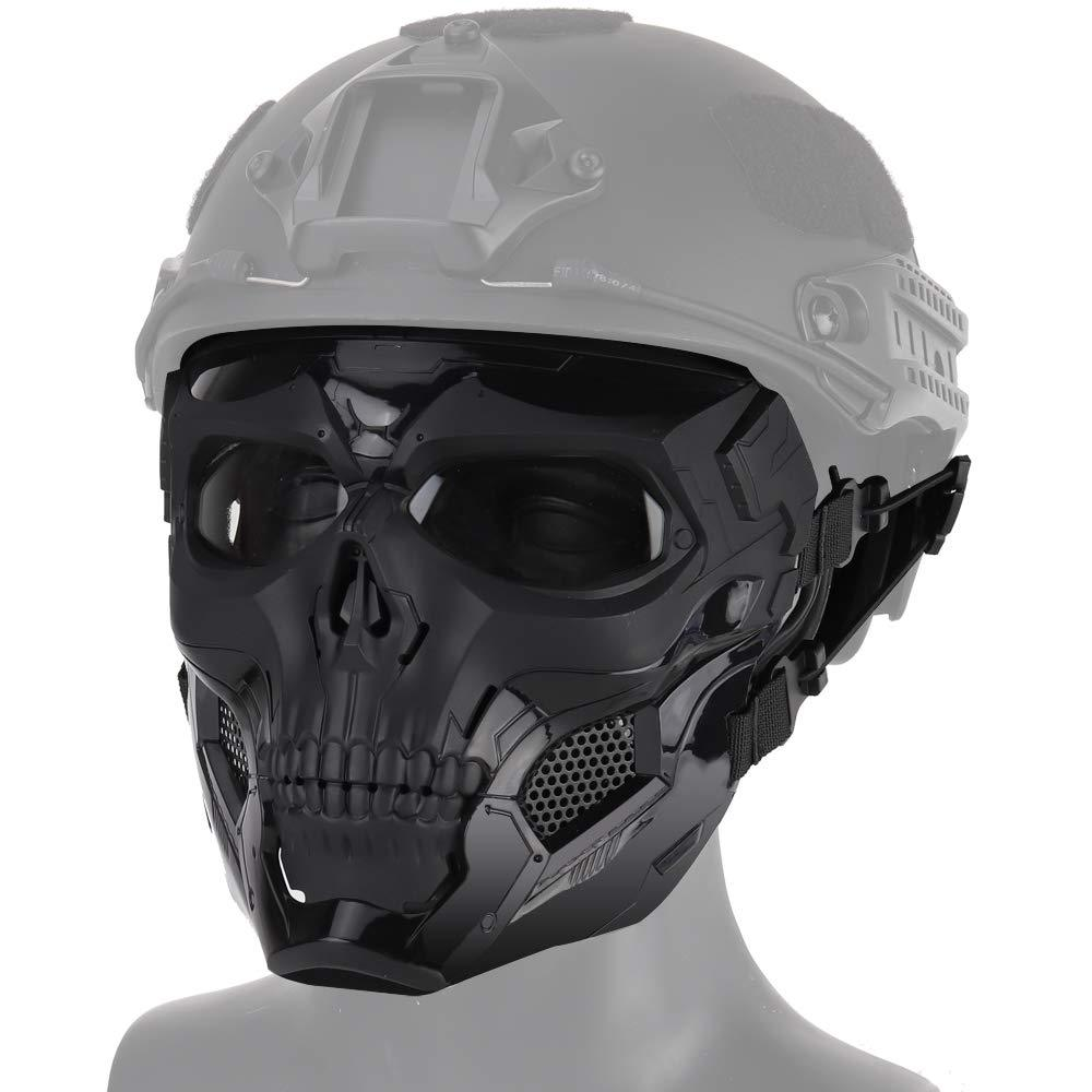 Tactical Paintball Skull Mask - Protective Full Face Airsoft Skull Mask - Black Camo - Paintball Accessories