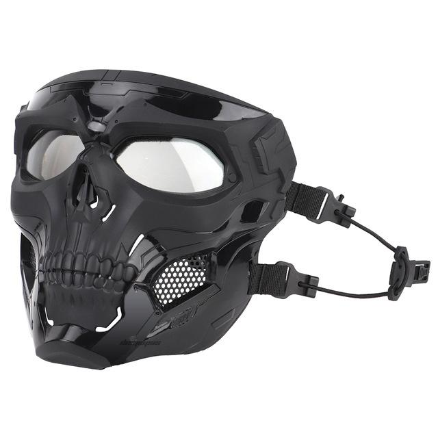 Tactical Paintball Skull Mask - Protective Full Face Airsoft Skull Mask - Black - Paintball Accessories